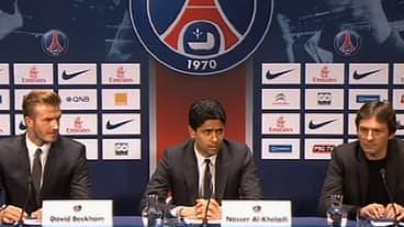 David Beckham lors de la conférence de presse du PSG le 31 janvier 2013.