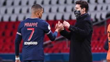 Kylian Mbappé et Mauricio Pochettino, à Paris le 22 janvier 2021