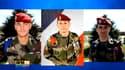 A gauche et à droite : l'officier Thomas Gauvin (27 ans) et l'adjudant Laurent Marsol (35 ans), du RCP de Pamiers. Au centre : l'adjudant Emmanuel Techer (38 ans), du 17e régiment du génie parachutiste de Montauban.
