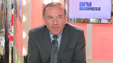Pierre Gattaz, candidat à la présidence du Medef, était l'invité de BFM Business, jeudi 28 mars.