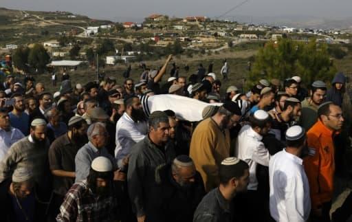 Les funérailles du rabbin Raziel Shevah, le 10 janvier 2018 à Havat Gilad, en Cisjordanie occupée