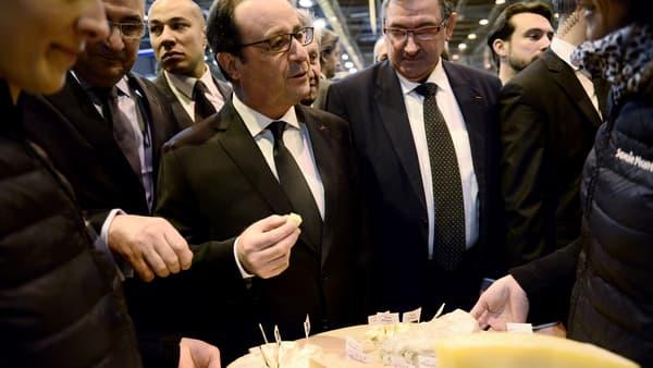 François Hollande déguste du fromage au Salon de l'Agriculture, le 21 février.