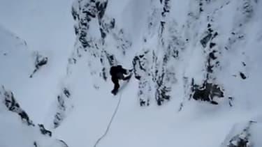 La goulotte des enfers, filmée par un alpiniste lors d'une précédente expédition.