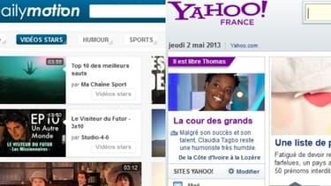 Capture d'écran des pages d'accueil de Yahoo! et Dailymotion.