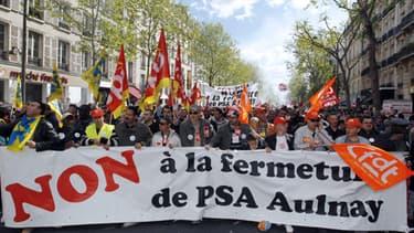 Manifestation contre la fermeture de PSA Aulnay en mai 2012.
