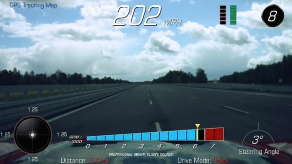 Une copie d'écran des ordinateurs mesurant les performances de la Camaro ZL1 pendant les essais.