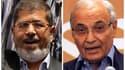 Mohamed Morsi (à gauche), le candidat des Frères musulmans à la présidentielle égyptienne et Ahmed Chafik, dernier chef de gouvernement de l'ex-président Hosni Moubarak. Les Egyptiens devraient connaître dimanche le nom de leur nouveau président, le premi