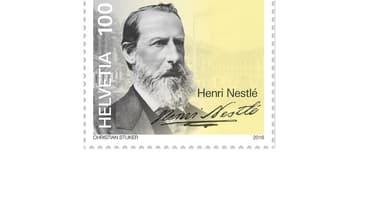 Henri Nestlé est affiché sur les timbres.