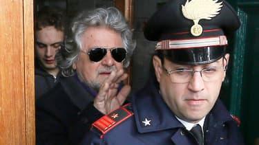 Beppe Grillo, leader non-candidat du mouvement 5 étoiles, lundi 25 février