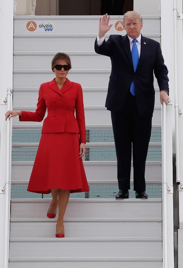 Melania et Donald Trump arrivant à Paris, le 13 juillet 2017.