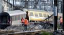 Le train Paris-Limoges, après son déraillement en gare de Brétigny-sur-Orge, le 12 juillet dernier. 7 personnes ont perdu la vie dans l'accident.