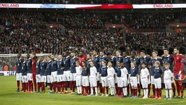 Les Bleus à Wembley, le 17 novembre 2015, pour le match amical Angleterre-France.