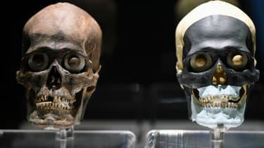 """Des crânes exposés dans le musée du """"Templo mayor"""" à Mexico."""