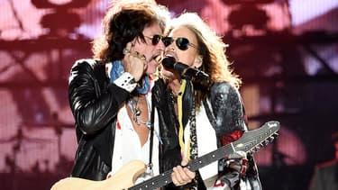 Joe Perry et Steven Tyler du groupe Aerosmith, en avril 2017, à Phoenix, en Arizona.