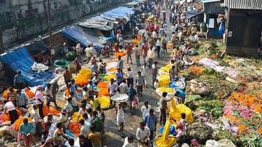 Le marché aux fleurs à Calcutta, en Inde