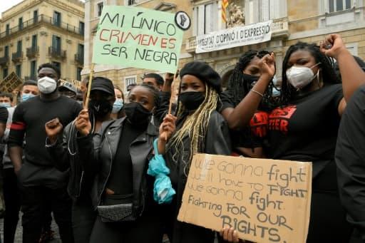 Manifestation à Barcelone pour dénoncer le racisme, le 7 juin 2020