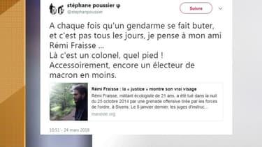 L'un des tweets controversés de Stéphane Poussier, candidat dans le Calvados pour La France insoumise aux législatives de 2017 -