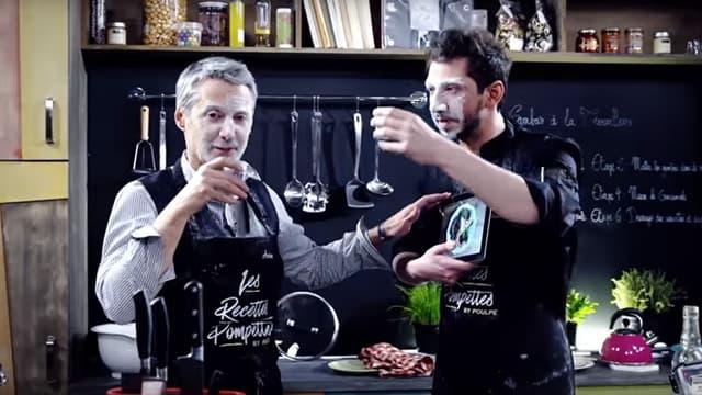 Antoine de Caunes et Monsieur Poulpe dans le deuxième épisode des Recettes pompettes, sur Youtube.