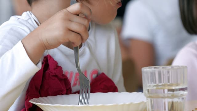 Une fillette mange dans une cantine scolaire, image d'illustration.