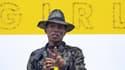 """Pharrell Williams à l'inauguration de son exposition """"GIRL"""", à Paris, le 26 mai 2014."""