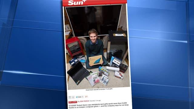 Robert Quinn, 22 ans, a indiqué qu'il donnerait plusieurs objets à des associations caritatives