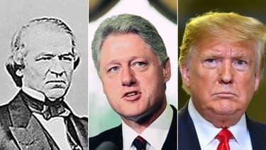 Andrew Johnson, Bill Clinton et Donald Trump.