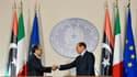 Mahmoud Djibril, Premier ministre du Conseil national de transition libyen (à gauche), jeudi à Milan lors d'une conférence de presse avec le président du Conseil italien Silvio Berlusconi. Le numéro deux du gouvernement rebelle en Libye a souligné à cette