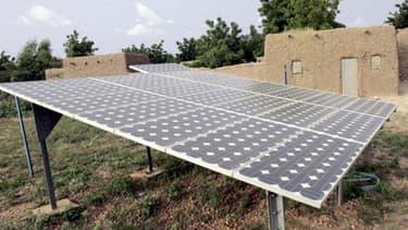 Panneaux solaires dans le village de Safo Nassarawa, près de Maradi, au Niger.