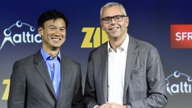 Michel Combes (à droite sur la photo) assurera, dans l'attente de la nomination courant janvier 2016 d'un nouveau directeur général, les fonctions de Président-directeur général de SFR.