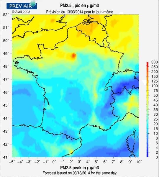 La carte du jour de la pollution aux particules inférieures à 2,5 microns ou 2,5PM
