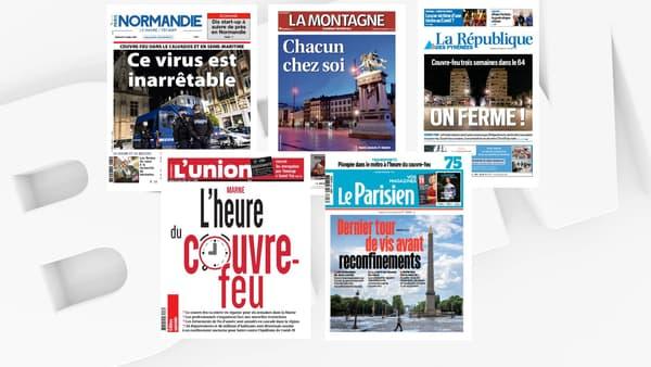 Les unes de la presse quotidien régionale au lendemain de l'annonce de l'extension du couvre-feu, le 23 octobre 2020.