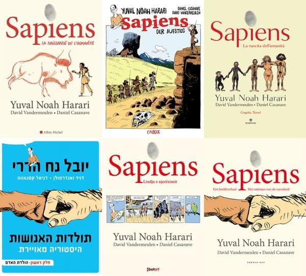 """Les différentes couvertures de la BD """"Sapiens"""""""