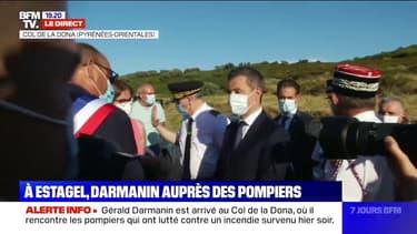 Gérald Darmanin est arrivé au Col de la Dona, où il rencontre les pompiers qui ont lutté contre un incendie survenu hier soir