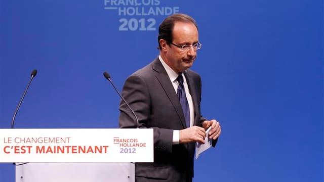 """François Hollande, soucieux de ne pas laisser à la droite l'exclusivité des thèmes de la lutte contre le terrorisme et de la sécurité réveillés par les drames de Toulouse et Montauban, affirme jeudi que """"rien n'empêchera le changement"""". /Photo prise 22 ma"""