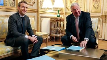 Gérard Larcher et Emmanuel Macron au Palais de l'Elysée en novembre 2017