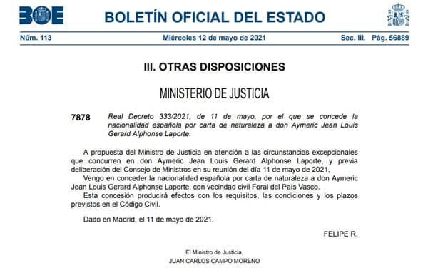 La confirmation de la naturalisation d'Aymeric Laporte