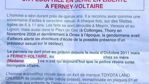 Recherchés, les auteurs de ce tract encourent jusqu'à 1 an de prison et 15.000 euros d'amende.