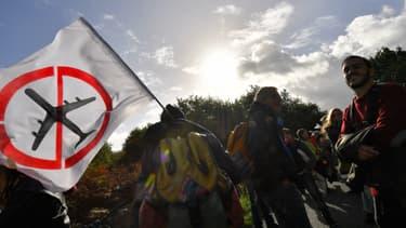Des manifestants contre le projet d'aéroport, le 21 octobre 2017 à Notre-Dame-des-Landes.