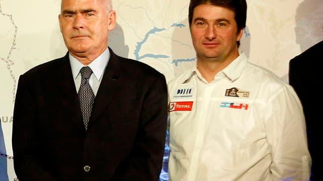 David Castera (à droite) lors de la présentation de ce Dakar 2012