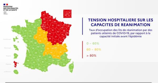 Carte de la tension hospitalière en France