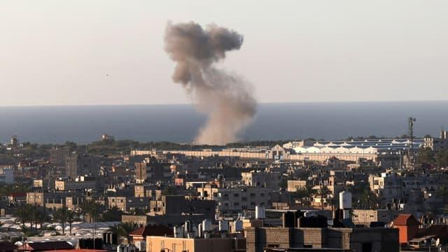 Frappe israélienne sur Rafah, dans le sud de la bande de Gaza, le 18 mai 2021 (Photo d'illustration)