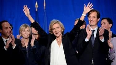 La future présidente de la région Ile-de-France à l'annonce des résultats du second tour des Régionales, le 13 décembre 2015 à Issy-les-Moulineaux près de Paris