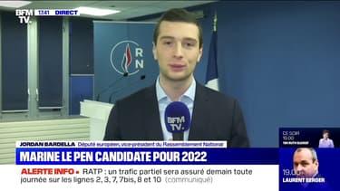 """Jordan Bardella: """"Marine Le Pen n'est pas Anne Hidalgo, elle ne cache pas ses intentions d'être candidate lorsque le pays en a besoin"""""""