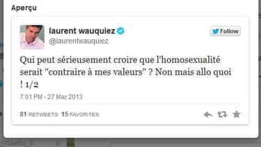 Compte twitter de Laurent Wauquiez paraphrasant Nabilla