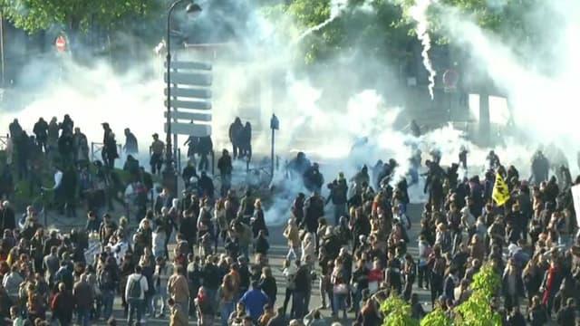 Echauffourées en fin de cortège du défilé du 1er mai à la Nation à Paris le 1er mai