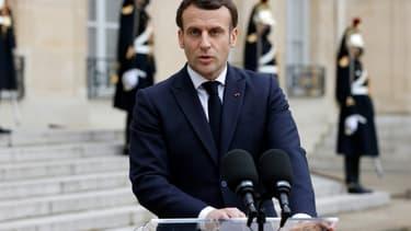 Le président français Emmanuel Macron à l'Elysée, le 4 février 2021 à Paris