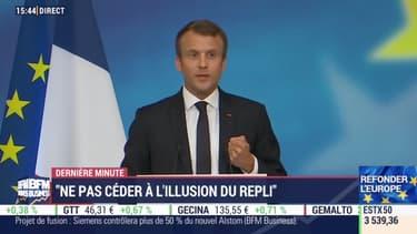 Emmanuel Macron lors de son discours à La Sorbonne.