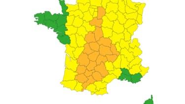 20 départements sont placés en vigilance orange