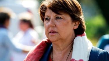 Martine Aubry lors d'un meeting du Parti socialiste à Lomme, dans le Nord, le 13 septembre 2014. - Philippe Huguen - AFP