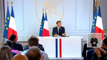 Emmanuel Macron devant la presse lors de sa conférence de presse, ce jeudi à l'Élysée.